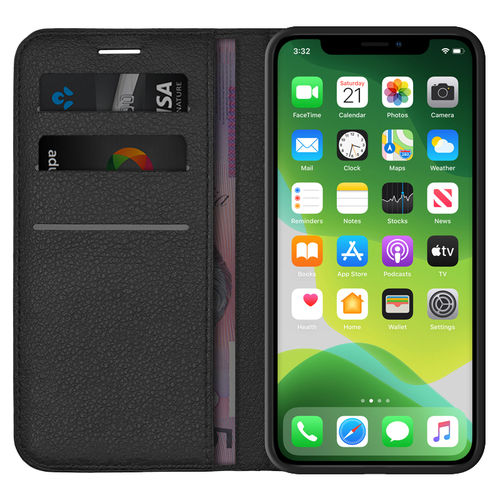 Leather Wallet Case & Card Holder Pouch for Apple iPhone 11 - Black